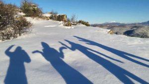 Четыре тени на снегу в Крыму