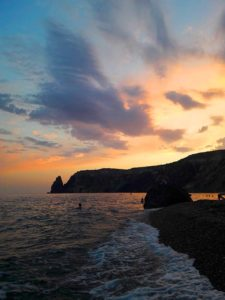 Закат на Яшмовом пляже на Фиоленте